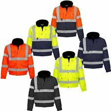HI VIZ VIS VISIBILTY TWO TWON BOMBER CONTRACTOR SECURITY JACKET
