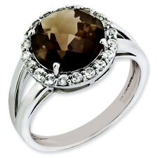 Sterling Silver Smokey Quartz & White Topaz Ring