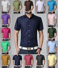 New Men's Pure Candy Color summer shirt Leisure Casual Shorts Sleeve Shirts