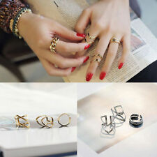 3PCS/Set Fashion Womens Girls Gold Silver Plated Adjustable Knuckle Finger Rings