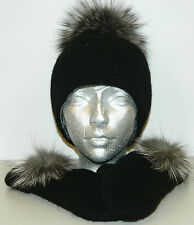 BLACK 100% WOOL 100% COTTON STRIP HAT MITTENS REMOVABLE SILVER FOX FUR POMPON