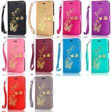 Gold Butterfly Wallet Pu Leather Case Cover For Huawei Ascend P8 Lite/P9/P9 Lite