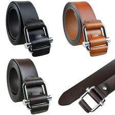 Mens Womens Genuine Leather Belt Wrapped Alloy Slider Buckle Waistband Waistbelt