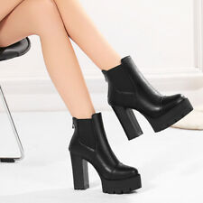 Womens pull on Chunky Block Heels Platform Round Toe Ankle Boots Shoes US10.5 sz