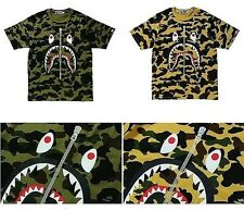 A Bathing Ape 2016AW Collection 1st Camo Shark Tee Green / Yellow Size S-XL NWT