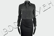 SAINT LAURENT PARIS 950$ Auth New Silk Black Star Print Blouse Shirt Top