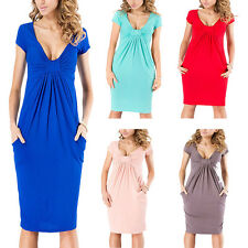 Women's Hot Fashion Sexy Chest Pleating Deep V-neck Short Sleeve Pencil Dress