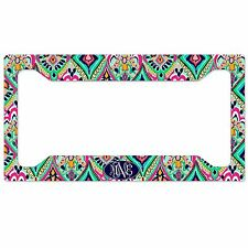 Personalized Monogrammed License Plate Frame Rear Pretty Floral Jewels Monogram