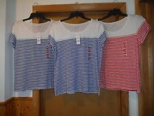 Short Sleeve Scoop Neck T-Shirts ELLE size XL,L,Blue & Red Striped NWT