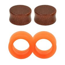 2Pairs Ear Gauges Tunnel Plugs Stone&Thick Section Silicone Orange Body Piercing