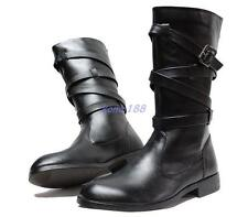 MENS riding equestrian mid calf boots strappy buckle zip up military moto boots
