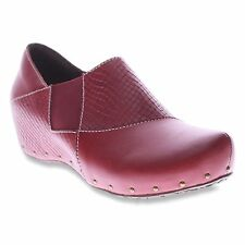 L'Artiste by Spring Step GORGIAS Womens Dark Red Leather Comfort Heel Clog Shoes