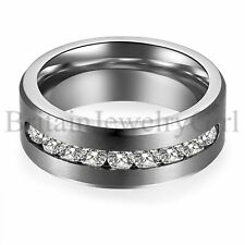 9MM Mens Silver Tone Stainless Steel Cable Screw Wedding Ring Band Size 7-13