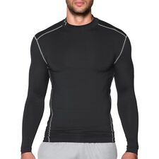 Under Armour Men's ColdGear Compression Mock Neck Long Sleeve Shirt Black New