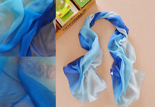 Gradient Color Neck Silk Scarf Long Slim Soft Wrap Neckwear Chiffon Shawl Women