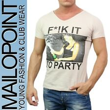 9453 Men's Fashion T-Shirt Shirts V-Neck beige new