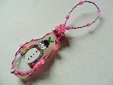 Happy snowman  - Hand painted crafted beaded sea glass Christmas tree decoration
