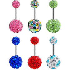 Navel Belly Button Ring Barbell Rhinestone Crystal Ball Piercing Body Jewelry DO