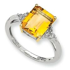 SS 14k Yellow Gold Citrine Diamond Ring/CT Wt-3.02ct/Met Wt-2.03g