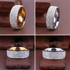 Unisex Gold Silver CZ Stainless Steel Ring Men/Women's Wedding Band Rings Sz8-10