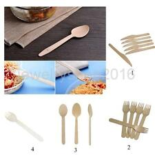 100pcs Wooden Disposable Cutlery Kit Sets Wood Forks/ Knives/ Spoons/ Spork