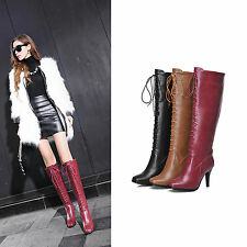 New Women's Fashion Thigh High Lace Up Boots Pointed Toe Stiletto High Heel Shoe