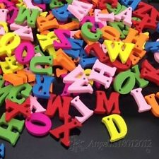 100Pcs Mix Wood Buttons Alphabet DIY Craft Scrapbook Sewing Appliques 15mm W44