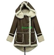 Womens faux Lamb Fur lapel Zipper Winter Warm Parka Hooded Coat fashion outwear