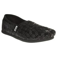 New Womens Toms Metallic Black Classic Textile Shoes Canvas Slip On