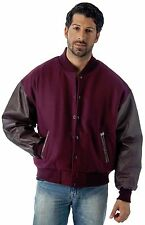 Union Made in USA Premium Varsity Leather wool Jacket Burgundy Color REED 1950