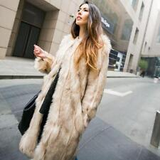 Womens luxury Faux Fur Winter Warm Long Coat Jacket Parka Trench Coat Outerwear