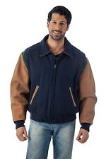 Letterman Varsity Jacket Premium Leather Wool Coat Union Made in USA by REED