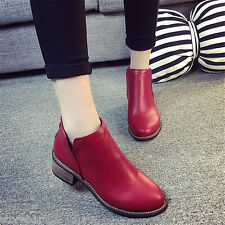 Classic Womens Ladies Short Boots Shoes Ankle Boots Zipper Thick Heel Shoes Hot