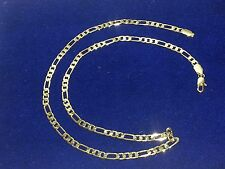 "Men 24"" Figaro Link Chain Necklace 5 mm Real 14k Yellow Gold Plated"