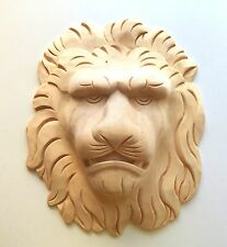 """9-3/4""""H x 8-1/4""""W, Hand Carved Red Oak Hard Wood Lion Face Applique Onlay Corbel"""