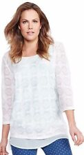 CLARITY ROUND NECK 3/4 SLEEVE CREAM LACE TOP NWT