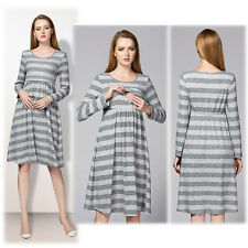 Striped Dress Nursing Breastfeeding Prenancy Maternity Trendy Slim S/M/L/XL/2XL