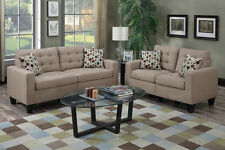 Linen-Like 2-Seater Sofa and Loveseat Set Tufted Seat Pillows for Living room