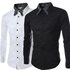 Mens Long Sleeve Black Shirt Cotton Slim Fit Dress Shirts Casual Tuxedo Shirts