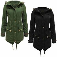New Ladies Plus Size Fur Hooded Pu Trim Coats Padded Winter Jackets 10-26