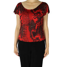 Red Missy Plus Size Women Fashion Slinky Stretch Knit Short Cap Sleeve Top
