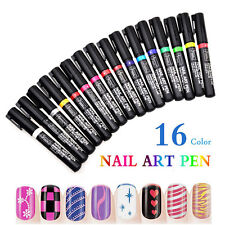 16 Colors UV Gel Polish Tips Manicure Nail Art Pen Painting Drawing Design Tools