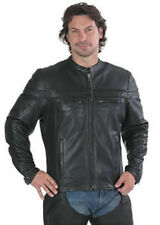 Mens Black Leather Motorcycle Jacket with Mandarin Collar 6037.CW