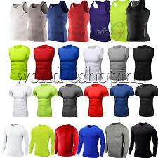 Mens Compression Shirt Base Layer Tight Tops Sports Fitness Running Gym T-Shirts