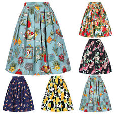 Women's Vintage 1950s Retro Pleated Cotton ❀ Skirt A-Line Pinup Skirt 5 Patterns