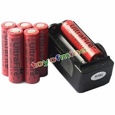 6pcs 3.7V 18650 UF Li-ion 6800mAh Rechargeable Battery for Flash light + Charger