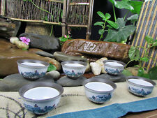 6pcs Tea Cups Sets Mineral Clay Porcelain Mugs ZISHA Chinese Landscape Painting