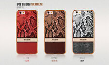luxury Plating Gold frame Leather Snake Print  back soft Case for iPhone 6/6s +