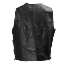 live to ride Mens Black Eagle Embossed Motorcycle Leather Vest  XS - 10XL