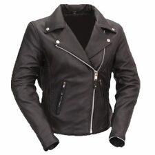 Ladies Women's Leather Braided Motorcycle Jacket Size 8-24